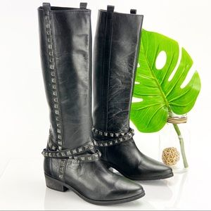 Zara Tall Boot Studded Pointed Black Leather